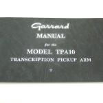 Garrard(ガラード)アーム TAP-10 取扱い説明書(オリジナル)